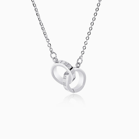 Interlocking Roman Numeral Necklace - Silver