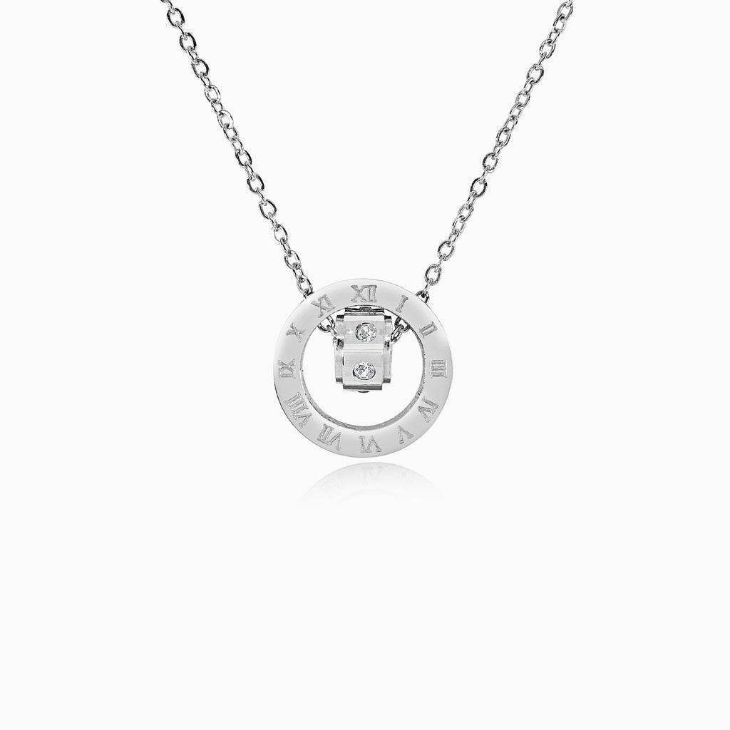 Double Ring Numeral Pendant Necklace - Silver
