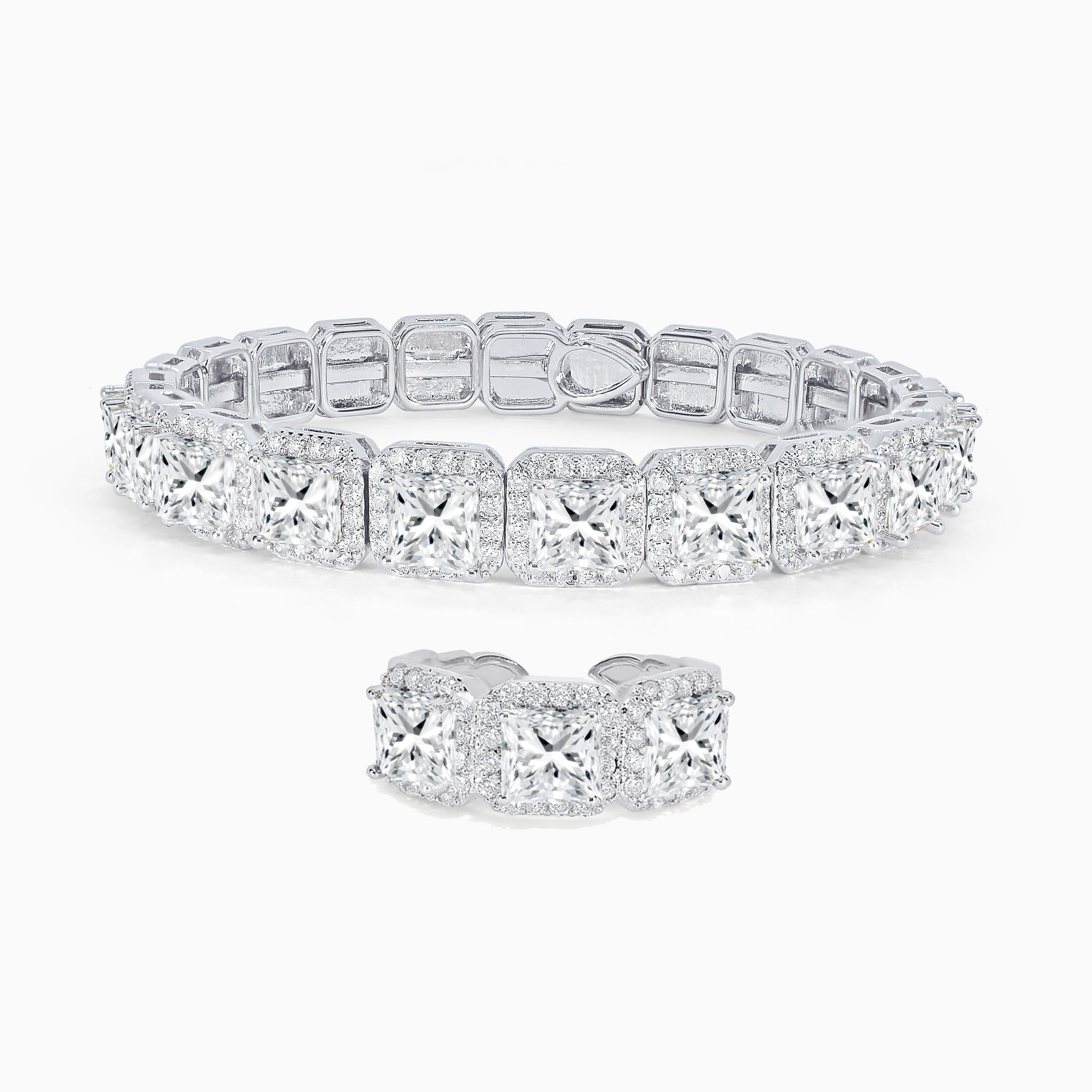 Princess Cut Bracelet & Ring Set - Clear White