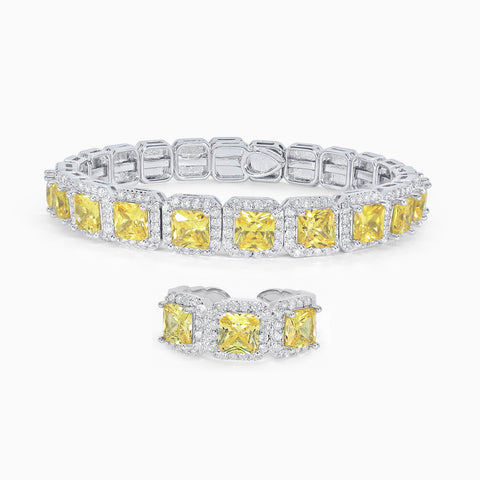 Princess Cut Bracelet & Ring Set - Canary Yellow