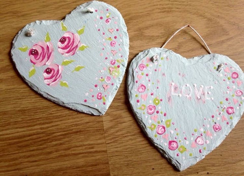Slate hearts base coated using Chalky Finish paint