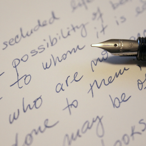 Close up of a handwritten letter and fountain pen nib - photo from Pixabay 777546