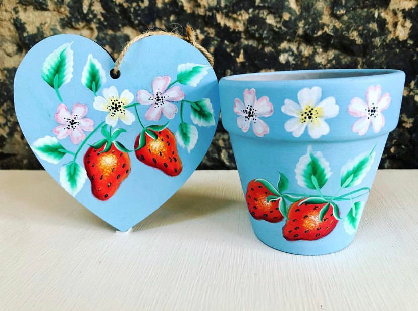 Handpainted planter and heart from Rachel at Crafty Folk