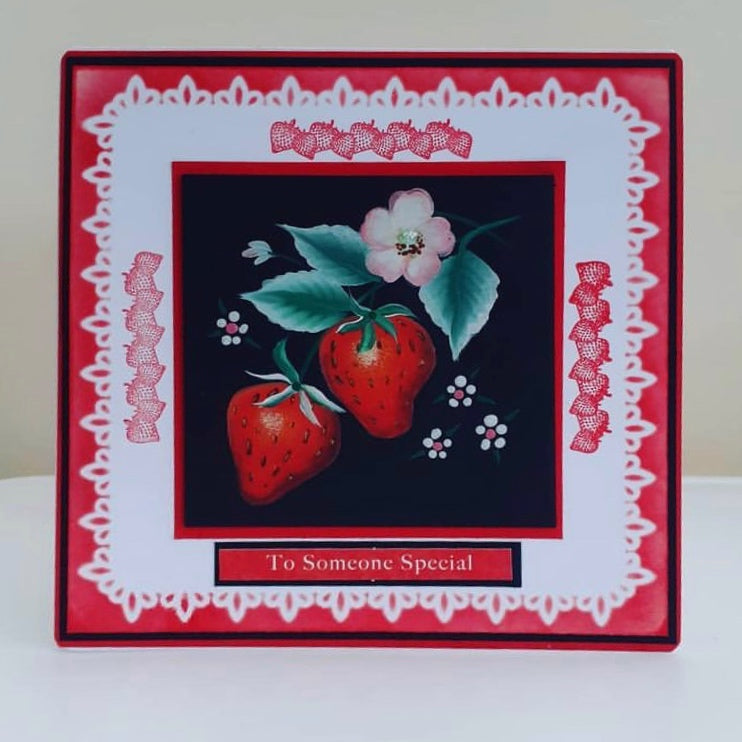 Hand painted strawberry card