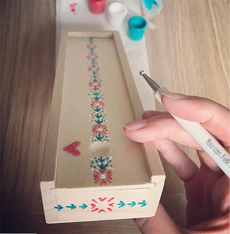 Wooden pencil box handpainted with designs from You Can Folk It