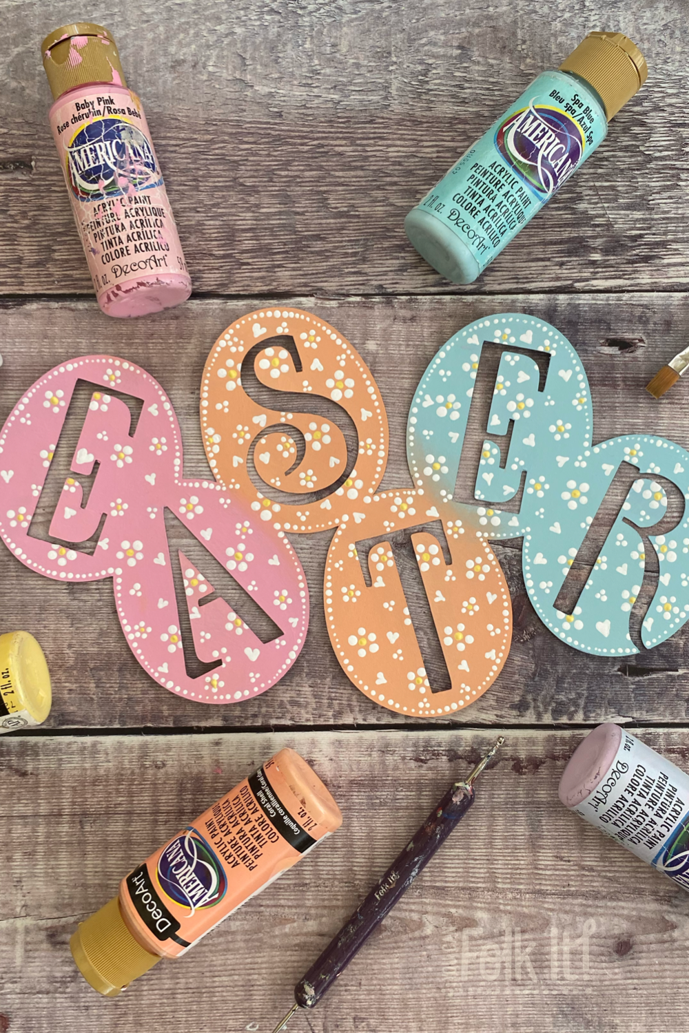 Easter egg banner with dotty design painted by You Can Folk It