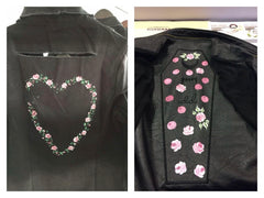 Paint on jackets by adding Fabric medium to your acrylics. Available from www.folkit.co