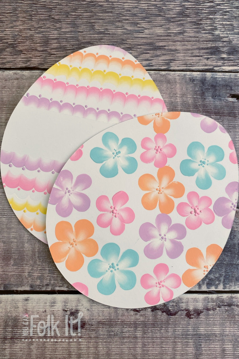 Easter egg card shapes hand painted using flowers and patterns by You Can Folk It