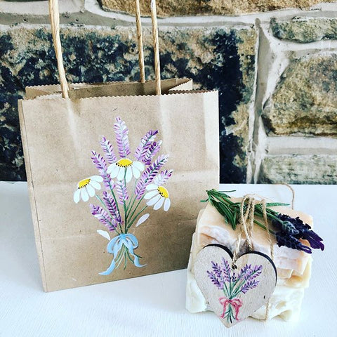 Rustic bags and tags decorated with painted daisies and lavender from You Can Folk It's masterclass