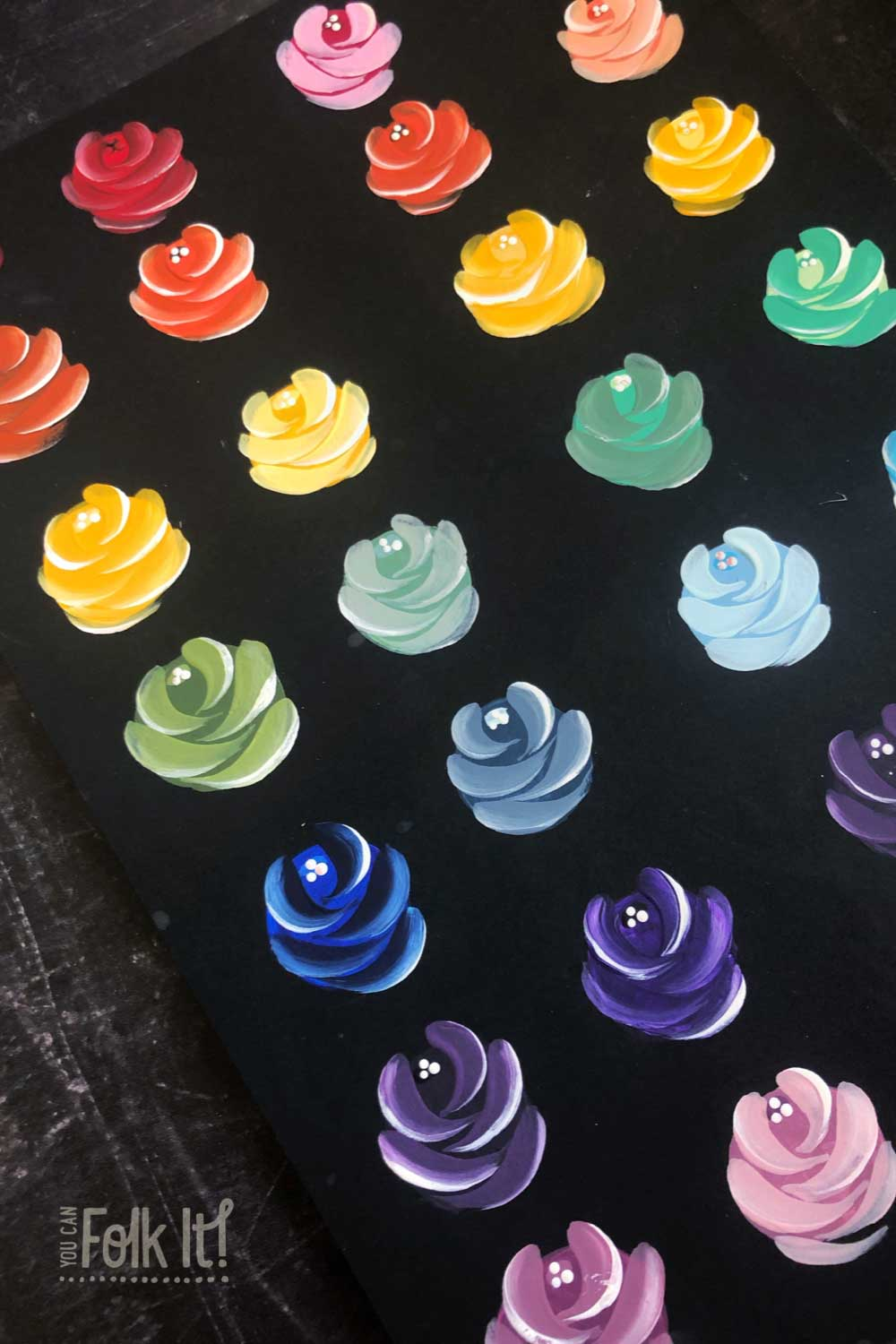 Rainbow roses practice sheet - painting journal