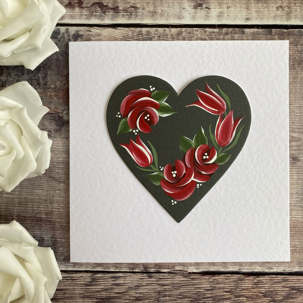 Roses and tulips hand painted folk art card