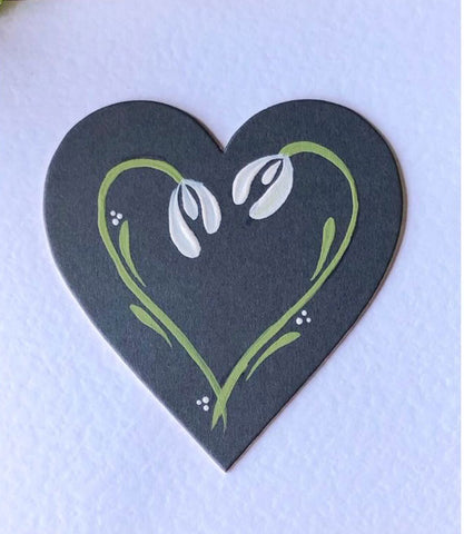 Snowdrop card - hand painted snowdrops on a grey heart mounted on white hammered card