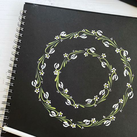 Hand painted snowdrop wreath