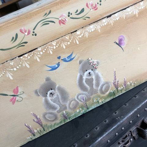 Vintage trunk decorated with designs from the You Can Folk It masterclass
