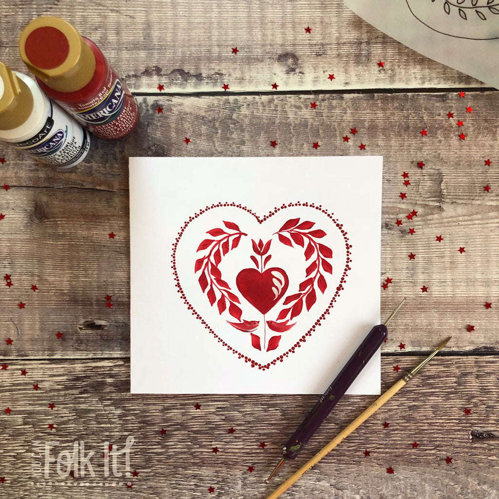 Traditional red Folk Art heart inspired by Valentine's Day