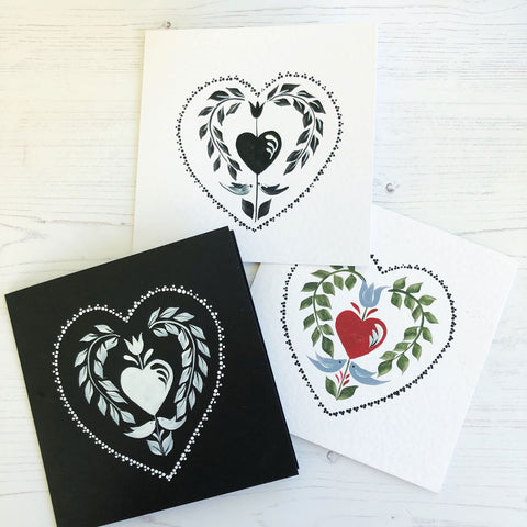 Trio of cards featuring our traditional folk art heart