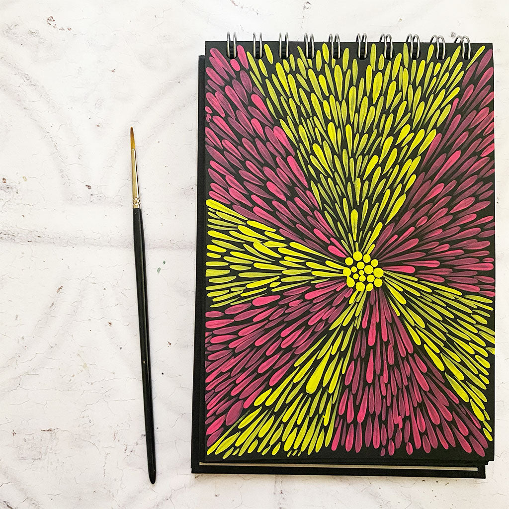 Overhead shot of a sketchbook sheet covered with comma strokes painted in two bright colours