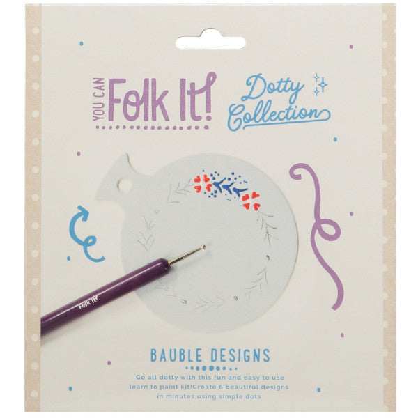 You Can Folk It Dotty Collection - painting kits for adults.  Learn how to paint 6 dotty festive designs onto beautiful bauble shapes.