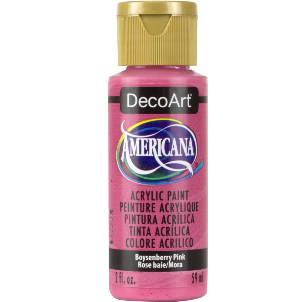 DecoArt Americana Acrylic in Boysenberry Pink. Perfect for folk art painting.