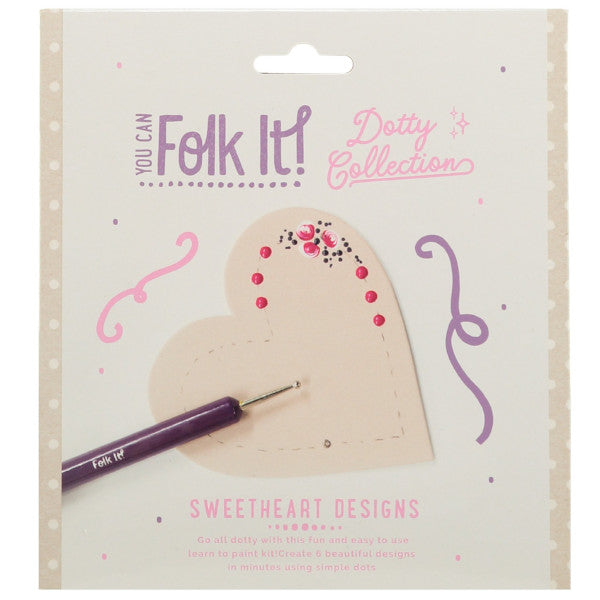 One of 6 designs taught in You Can Folk It's Dotty collection Sweetheart kit - a fun painting kit for adults and children