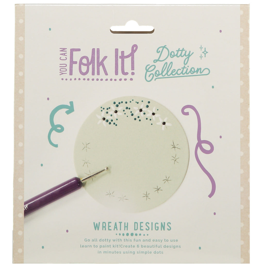 One of 6 designs taught in You Can Folk It's Dotty collection wreath kit - a fun painting kit for adults and children