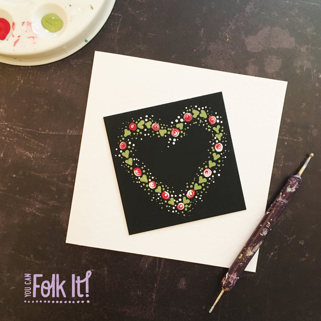 Round brush Starter kit dotty roses look great on this colour mount black square from You Can Folk It