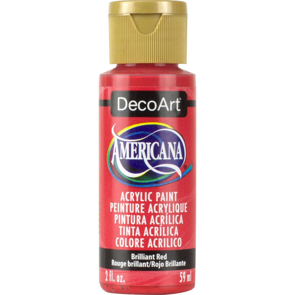 DecoArt Americana acrylic in Brilliant Red - perfect for Folk Art painting