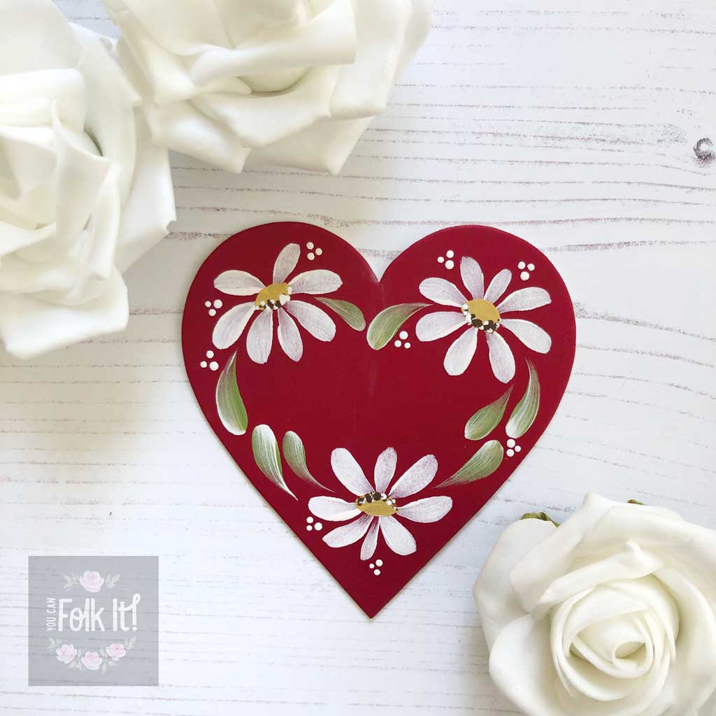 Daisy details on one of our red mount board hearts