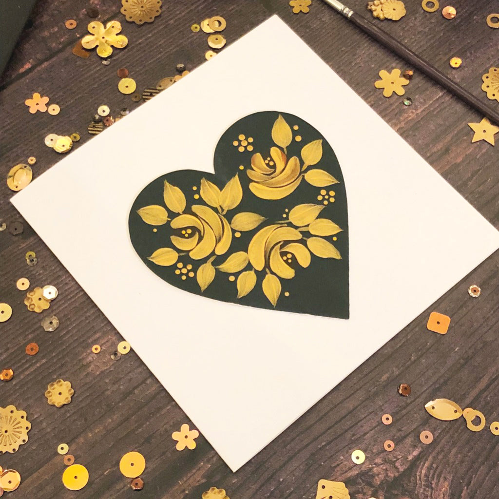 Deep Forest Green Hearts - pack of 10