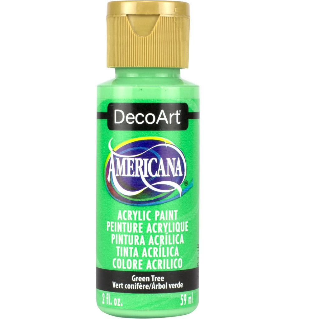 DecoArt American acrylic paint in Green Tree - perfect for Folk Art painting