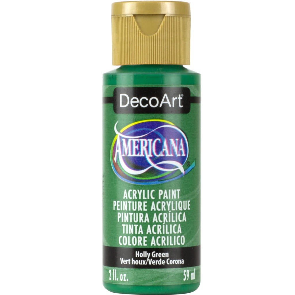 DecoArt Americana acrylic in Holly Green, perfect for Folk Art painting