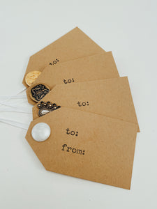 "Set of 4 hand-cut and hand-stamped cardstock gift tags with gold tone button embellishments and white ribbon Size 4.25"" x 2.5"""