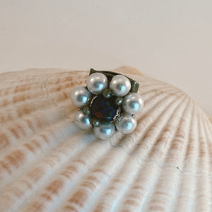 Adjustable size bronze ring, adorned with a beaded vintage earring in shades of pearl, purple and gold