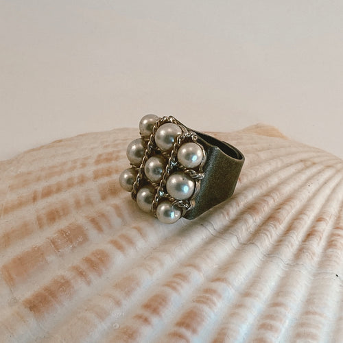 Adjustable size bronze ring, adorned with a beaded vintage earring with pearls and gold accents