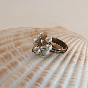 Adjustable size copper ring, adorned with a beaded vintage earring in all shades of white/pearl with gold accents