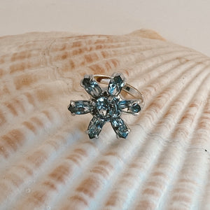 Adjustable size .925 Sterling Silver ring, adorned with a rhinestone vintage earring