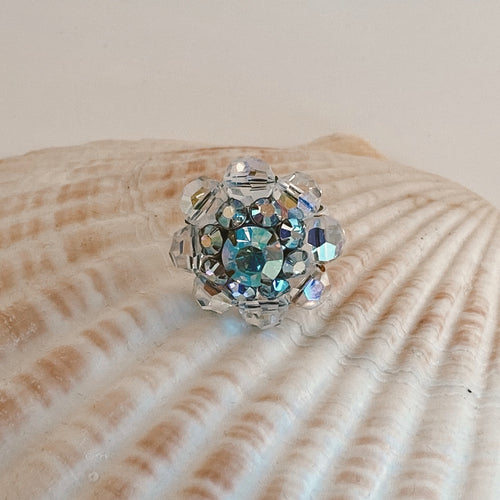 Adjustable size .925 Sterling Silver ring, adorned with a vintage earring made of iridescent crystal beads