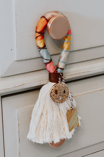 Cotton rope, hand wrapped with colorful threads, adorned with a unique, coordinating charm Size approx 3