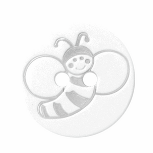 white buttons with bee 15mm