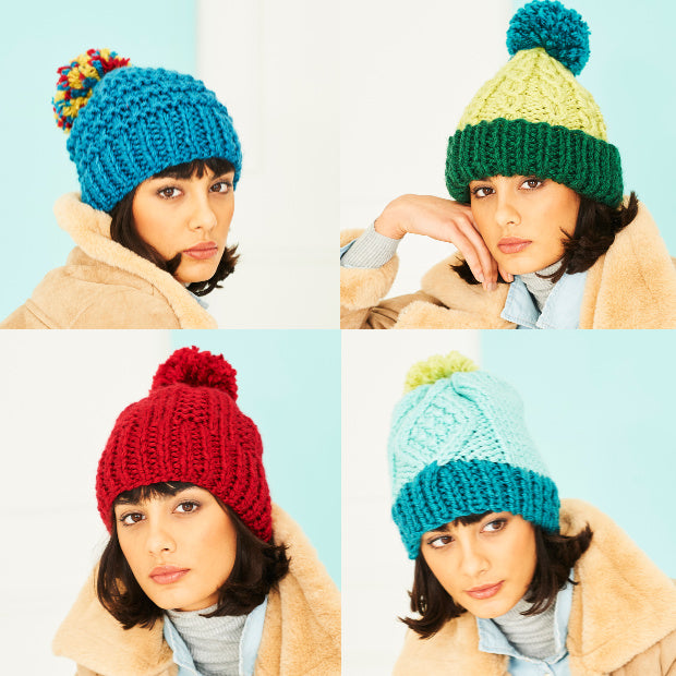 Special XL Extra Chunky hats knitting pattern 9790