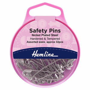 Safety Pins: Assorted: Nickel: 32 Pieces