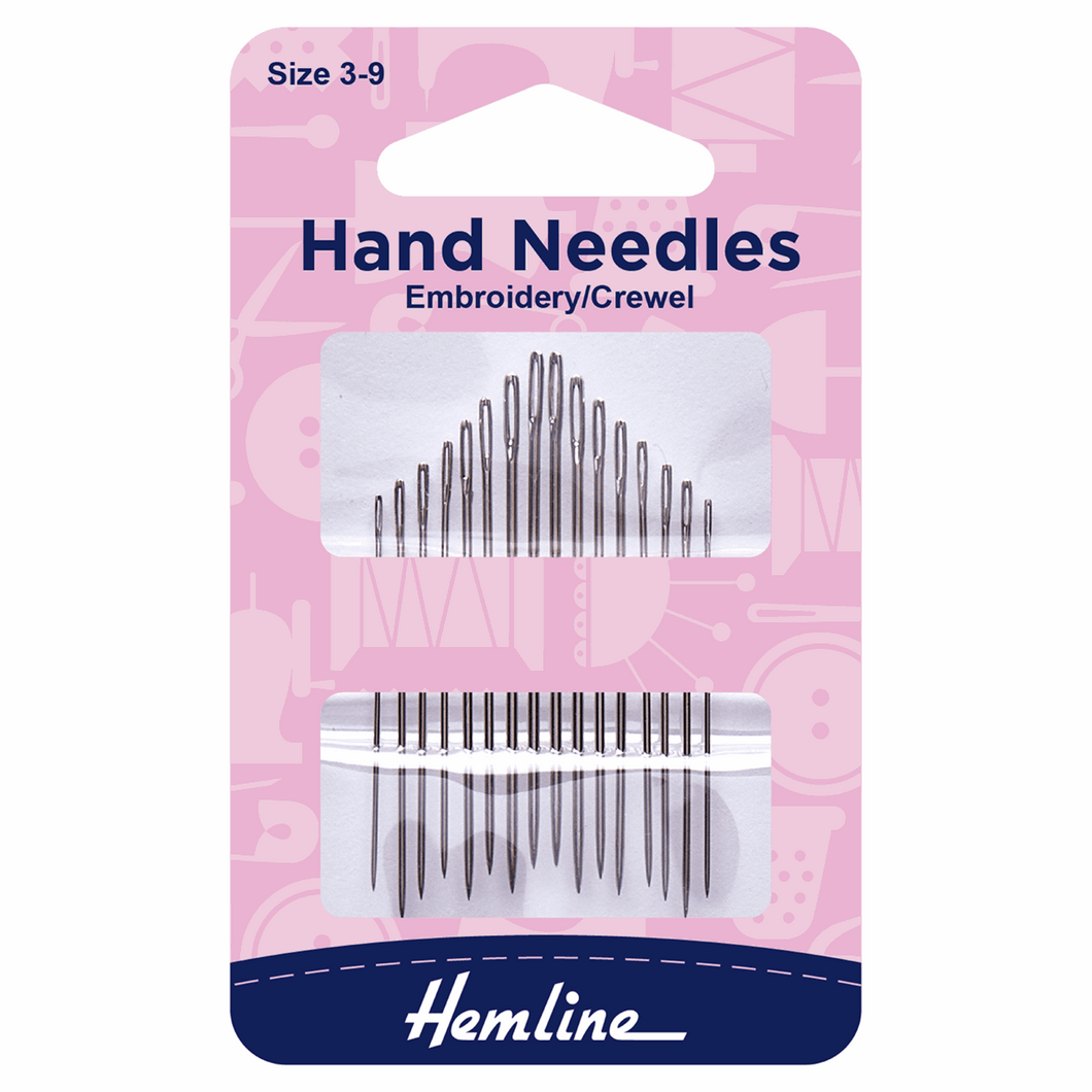 Hand Sewing Needles: Embroidery/Crewel: Size 3-9