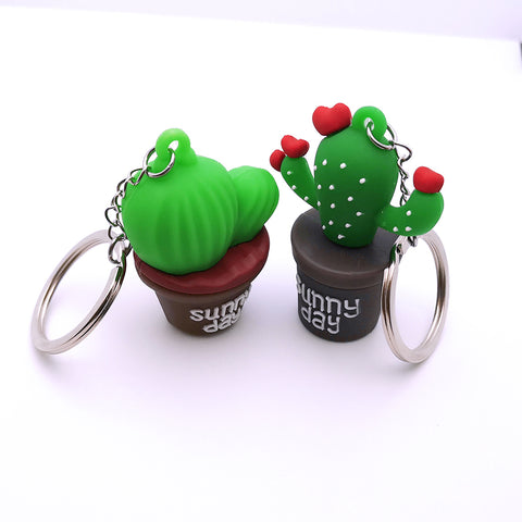 Cartoon Rubber Prickly Pear Keychain