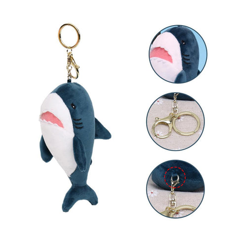 Plush Cartoon Shark Keychain