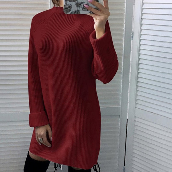Autumn Winter Solid Knitted Cotton Sweater