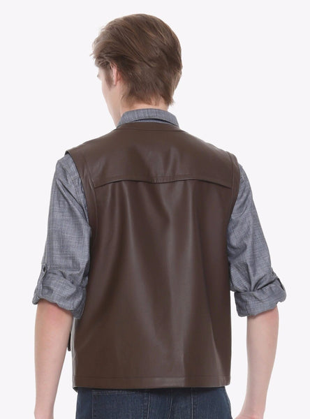 Men Leather Jacket Vest Coat