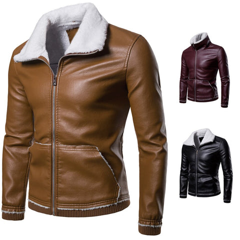 Men Tactical PU Leather fleece Jacket