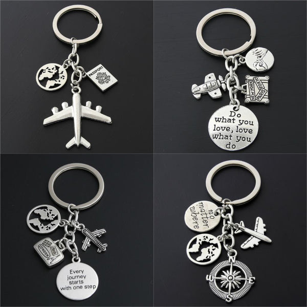 World Map Charms Airplane Key Chains