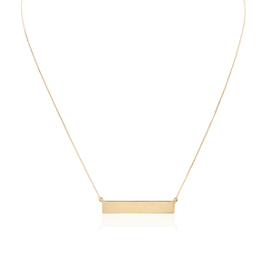 Large Name Plate Engravable Necklace (14K Yellow Gold)
