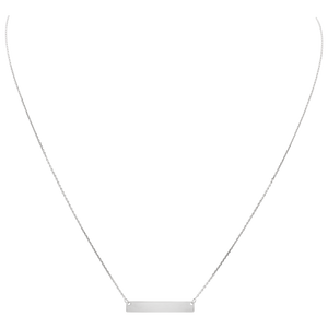 Mini Name Plate Engraveable Necklace (White Gold)